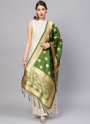 Women Green Color Woven Banarasi Dupatta