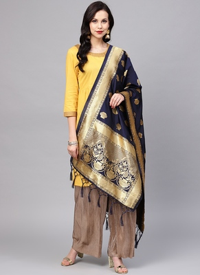 Women Dark blue Color Woven Banarasi Dupatta