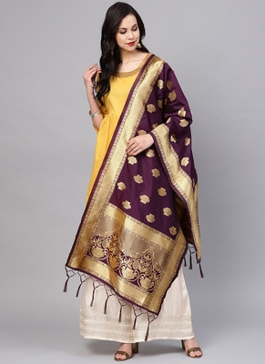 Women purple Color Woven Banarasi Dupatta