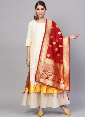 Women Scarlet Red Color Woven Banarasi Dupatta