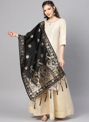 Women Black Color Woven Banarasi Dupatta