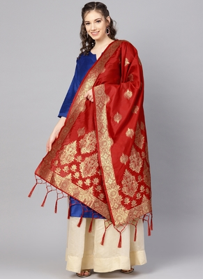 Women Red Color Woven Banarasi Dupatta