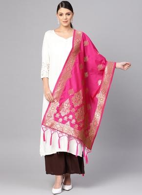 Women Rani Pink Color Woven Banarasi Dupatta
