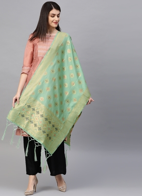 Women Sea Green Color Woven Banarasi Dupatta