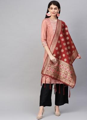 Women Maroon Color Woven Banarasi Dupatta
