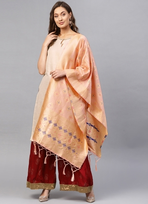 Women Peach Color Woven Banarasi Dupatta