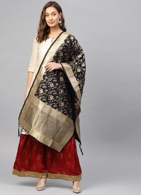 Women Black Color Woven Banarasi Dupatta