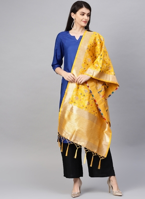 Women Yellow Color Woven Banarasi Dupatta