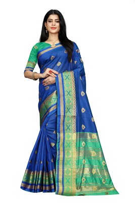 Women's blue South Cotton Designer saree With Jacquard butta All Over