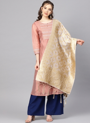 Women Grey Color Woven Banarasi Dupatta