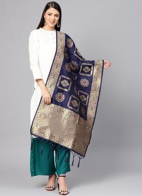 Women Navy blue Color Woven Banarasi Dupatta