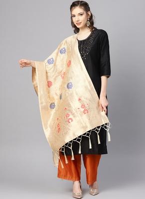 Women Cream Color Woven Banarasi Dupatta