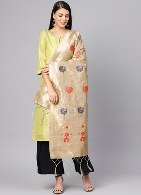 Women Light grey Color Woven Banarasi Dupatta