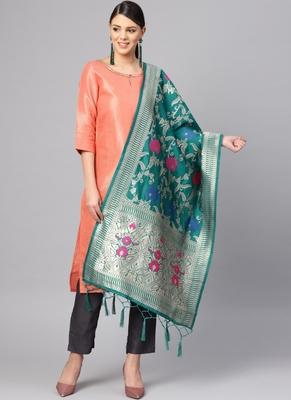 Women Turquoise Color Woven Banarasi Dupatta