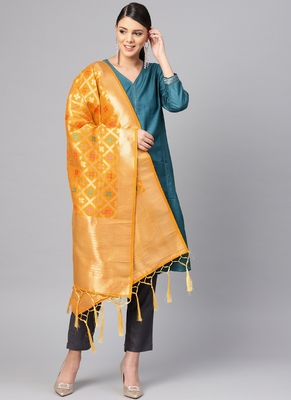 Women Mustard Color Woven Banarasi Dupatta