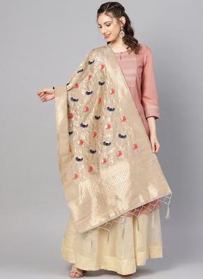Women Light grey Color Woven Banarasi Dupatta