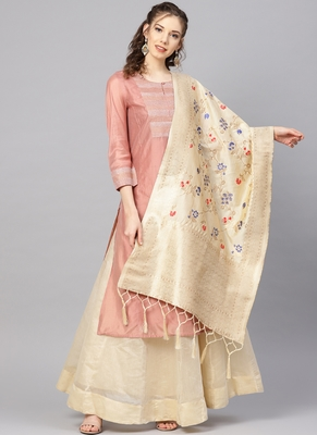 Women Cream Color Woven Banarasi Dupatta