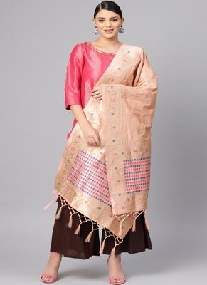 Women Peach Color Woven Banarasi Dupatta