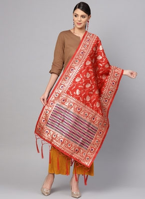 Women Red Color Woven Banarasi Dupatta
