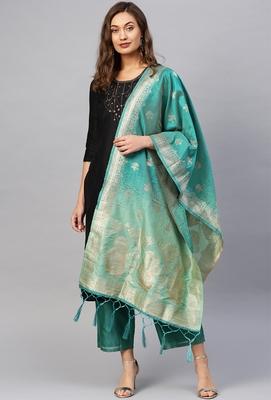 Women Green Color Woven Banarasi Dupatta