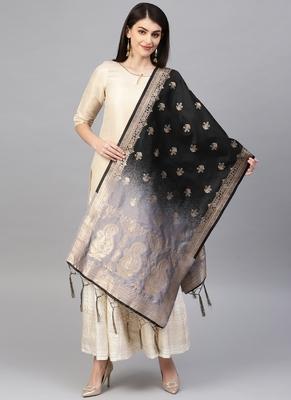 Women Grey and Black Color Woven Banarasi Dupatta