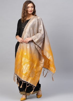 Women Grey and Yellow Color Woven Banarasi Dupatta