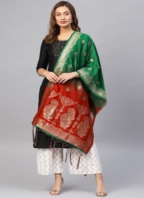 Women Red Green Color Woven Banarasi Dupatta