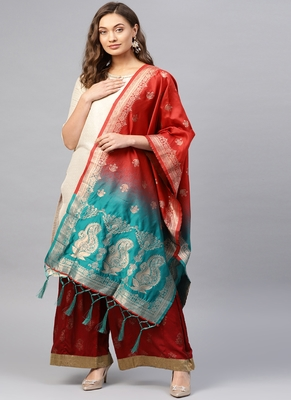 Women Red green Color Woven Banarasi Dupatta