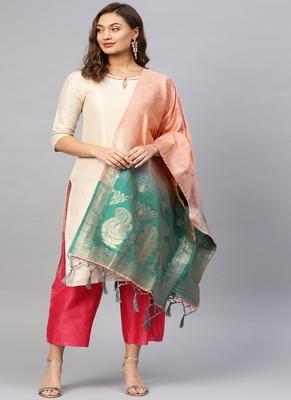 Women Peach and green Color Woven Banarasi Dupatta
