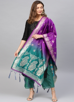 Women Purple and green Color Woven Banarasi Dupatta