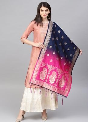 Women Navy blue and Rani Pink Color Woven Banarasi Dupatta