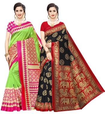 Combo Of 2 Poly Silk  Multicolor Printed Women's Saree