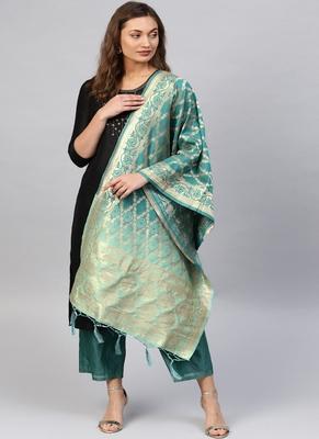 Women Sea Green Color Woven Banarasi Dupatta
