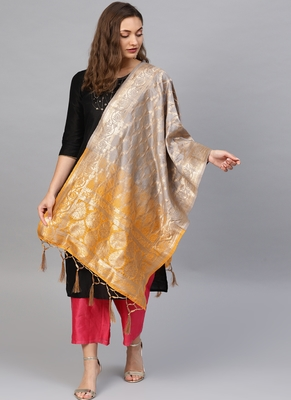 Women Grey Yellow Color Woven Banarasi Dupatta
