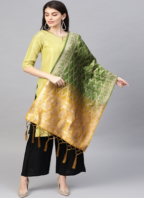 Women Green Yellow Color Woven Banarasi Dupatta