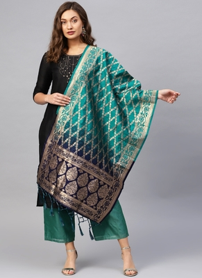 Women green blue Color Woven Banarasi Dupatta
