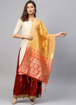 Women Yellow and Red Woven Banarasi Dupatta