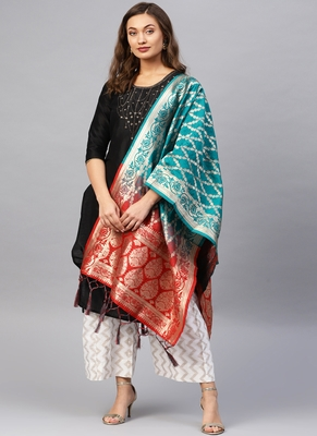 Women green and Red Woven Banarasi Dupatta