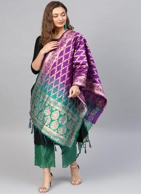 Women Purple and green Woven Banarasi Dupatta