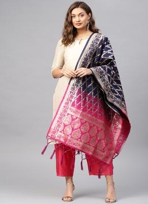 Women Navy blue and Rani pink Woven Banarasi Dupatta
