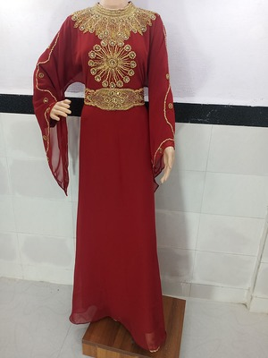 maroon georgette moroccan kaftan with zari and stone work