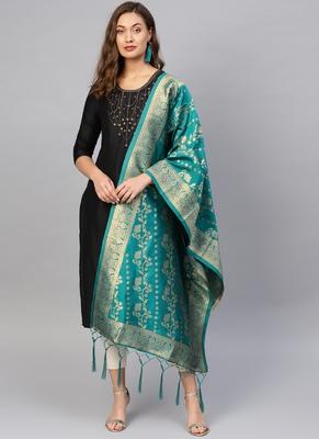 Women Turquoise Woven Banarasi Dupatta