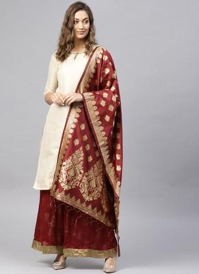 Women Maroon Woven Banarasi Dupatta