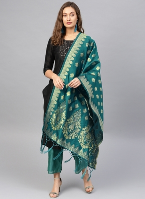 Women green Woven Banarasi Dupatta