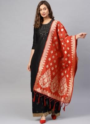 Women Red Woven Banarasi Dupatta