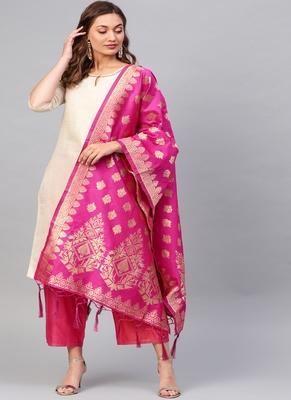 Women Rani Pink Woven Banarasi Dupatta