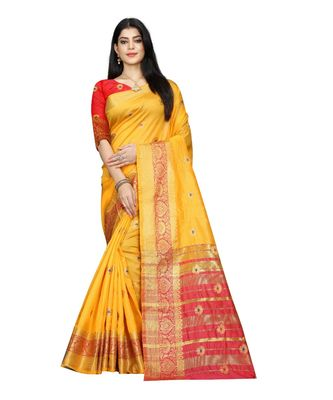 Women   s yellow South Cotton Designer saree With Jacquard butta All Over
