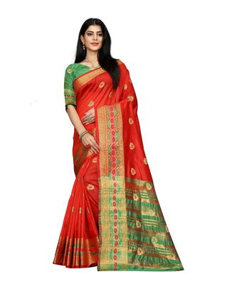 Women's red South Cotton Designer saree With Jacquard butta All Over