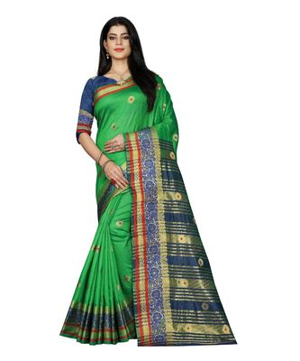 Women's green South Cotton Designer saree With Jacquard butta All Over