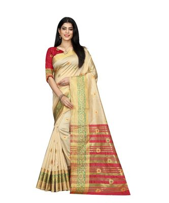Women's cream South Cotton Designer saree With Jacquard butta All Over